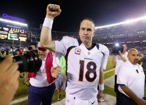 Denver Broncos quarterback Manning celebrates his team's come-from-behind win over the San Diego Chargers following their Monday Night NFL football game in San Diego
