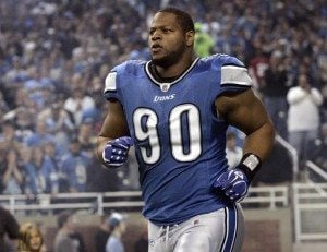 Detroit Lions defensive tackle Ndamukong Suh enters the field for the start of their NFL football game in Detroit