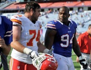 Kansas City Chiefs tackle Winston chats with Buffalo Bills defensive end Williams at end of their NFL football game in Orchard Park