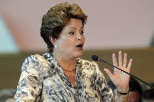 Brazil's President Dilma Rousseff speaks during the national meeting with new mayors in Brasilia