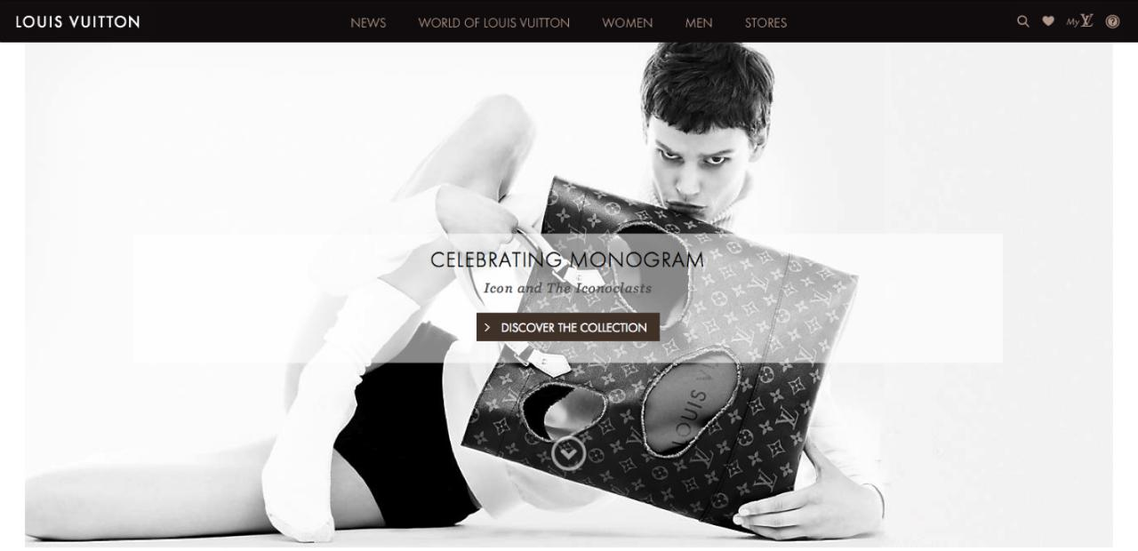 Imagen: home del website de Louis Vuitton