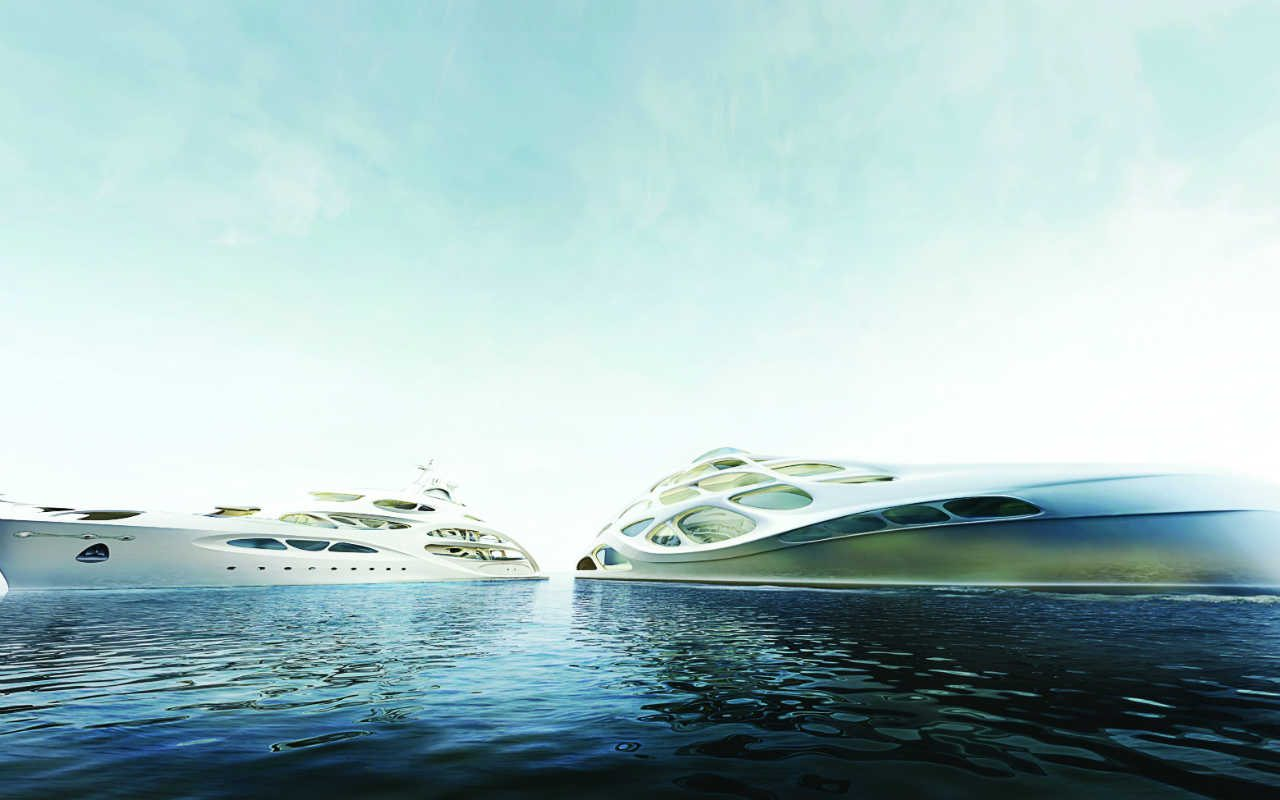 ZHA_B+V_Unique Circle Yachts by Zaha Hadid Architects for Bloom+Voss Shipyards (visualisation Moka-Studio)