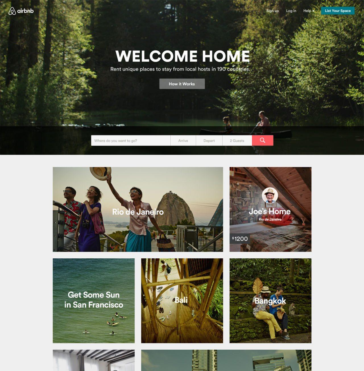 Home page de Airbnb.