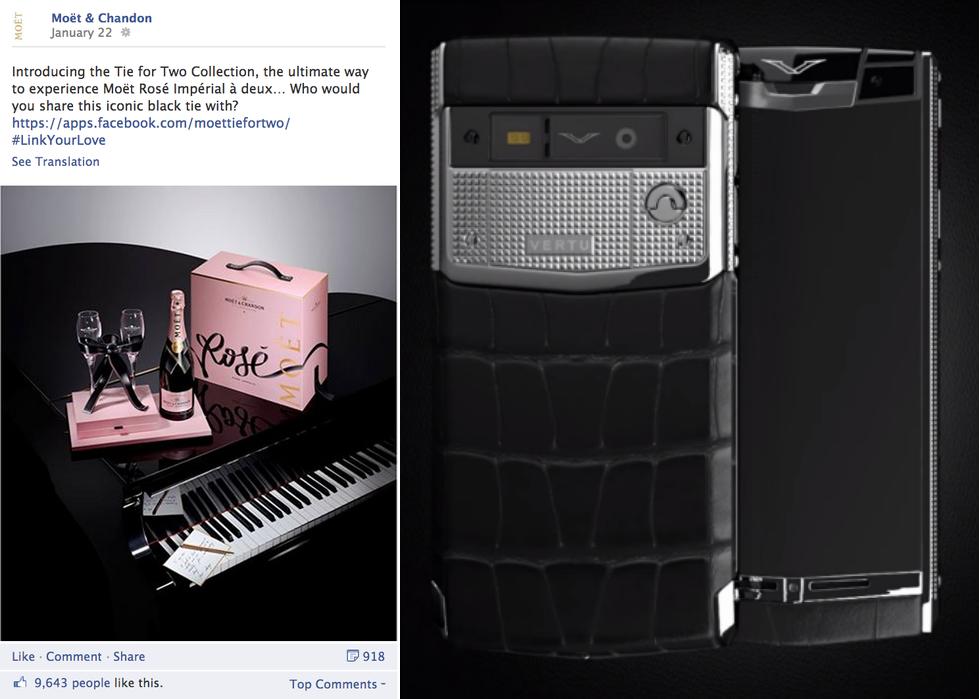 """Post FB de Moët & Chandon promocionando el concurso """"Tie-For-Two"""" """"Signature Touch Clous de Paris"""" es uno de los modelos de Vertu, la marca de móviles considerados auténticas joyas de lujo."""