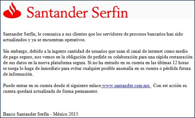 Falso correo de Santander (Imagen: Condusef).