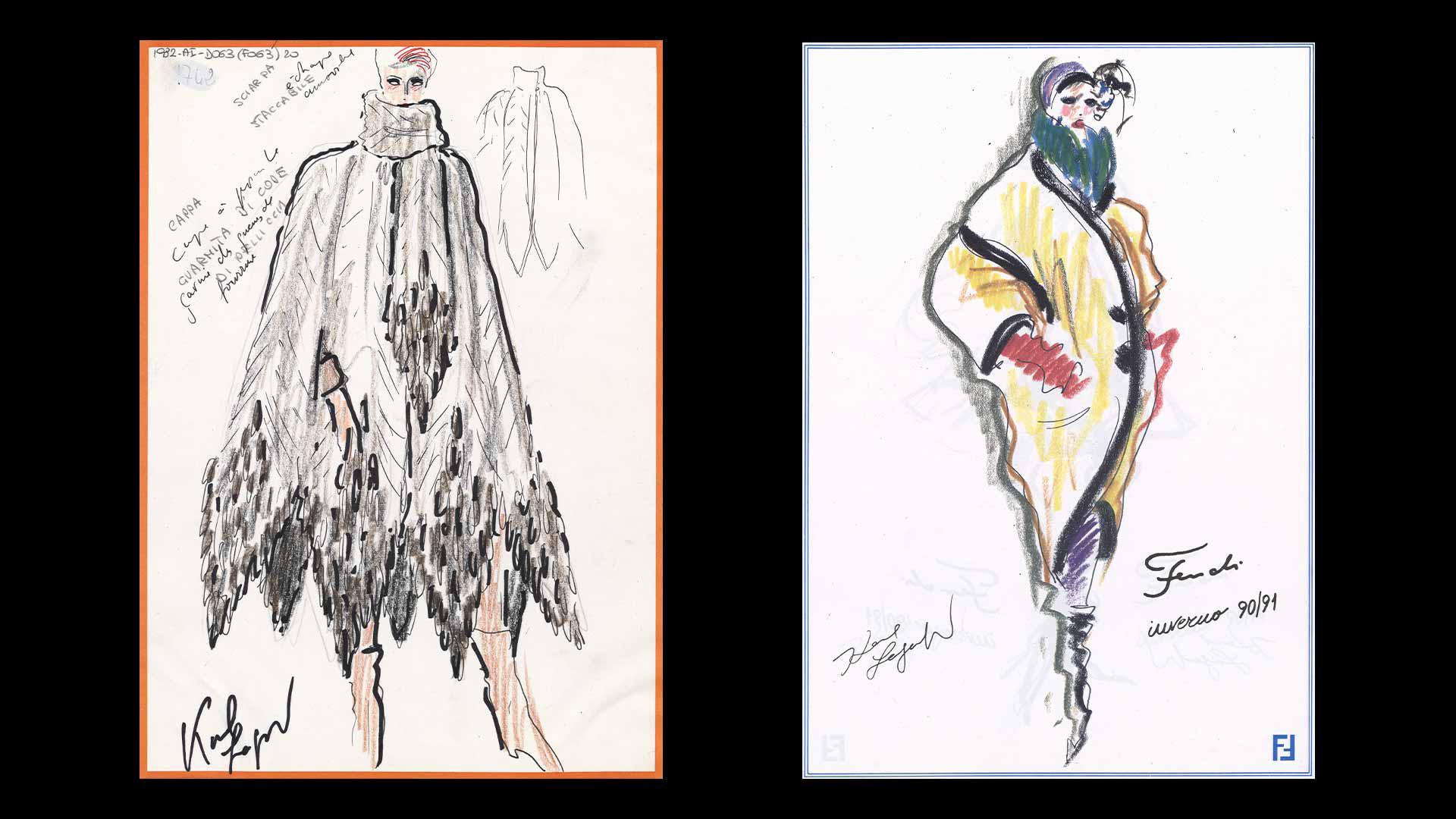 Sketch de Karl Lagerfeld para Fendi