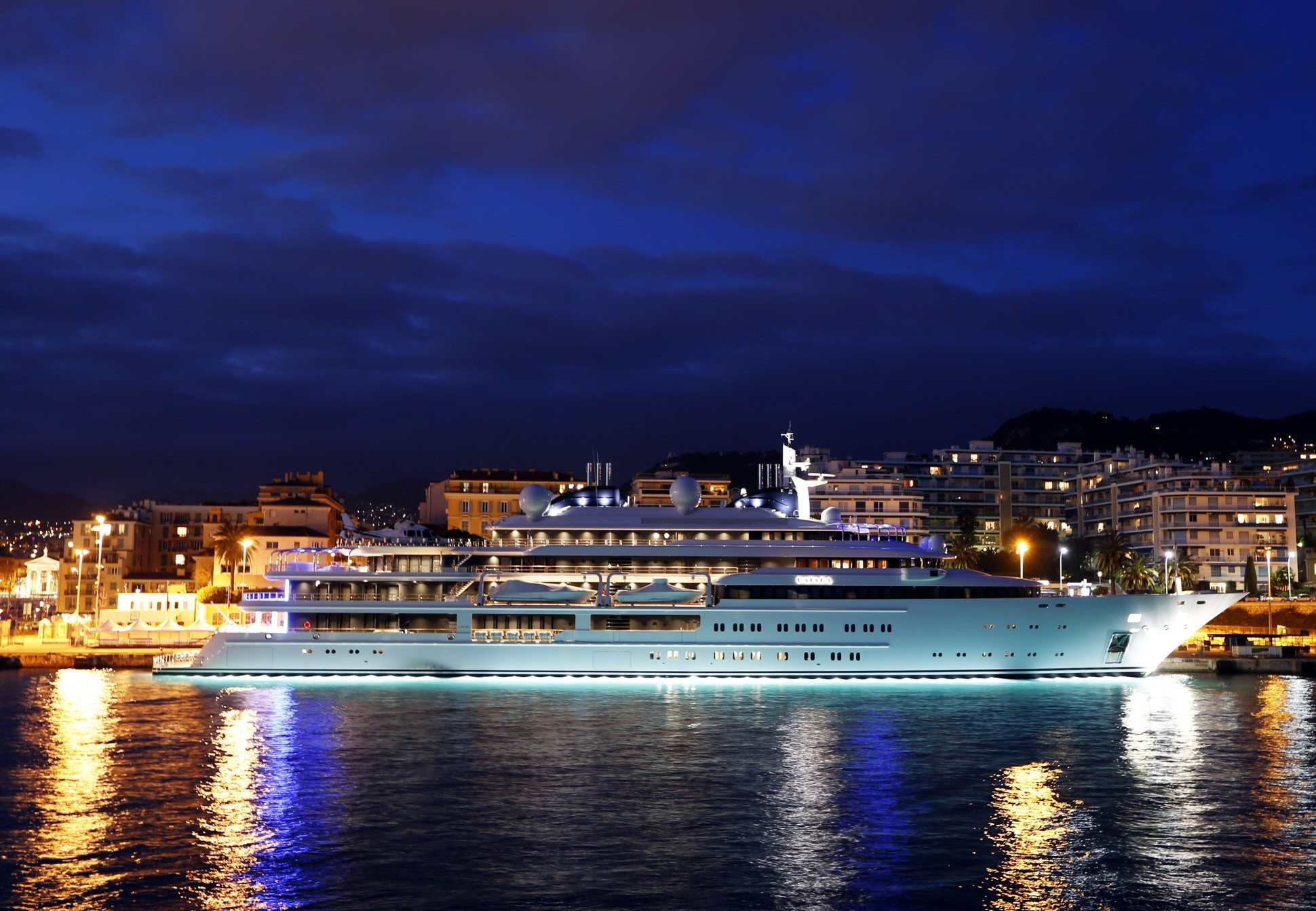 The Katara, a 124 meter superyacht owned by the emir of Qatar, docked in Nice's harbor. (Valery Hache/AFP Photo/Getty)