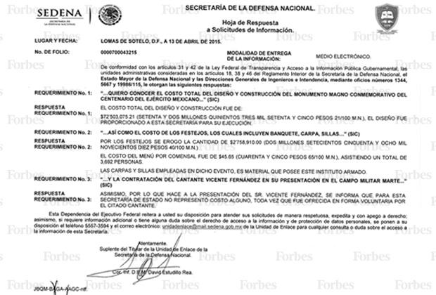 Respuesta del sistema Infomex.