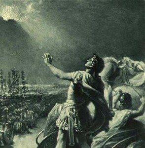 """Constantino viendo un halo en el cielo antes de la batalla del Puente Milvio. """"Con este signo vencerás."""""""