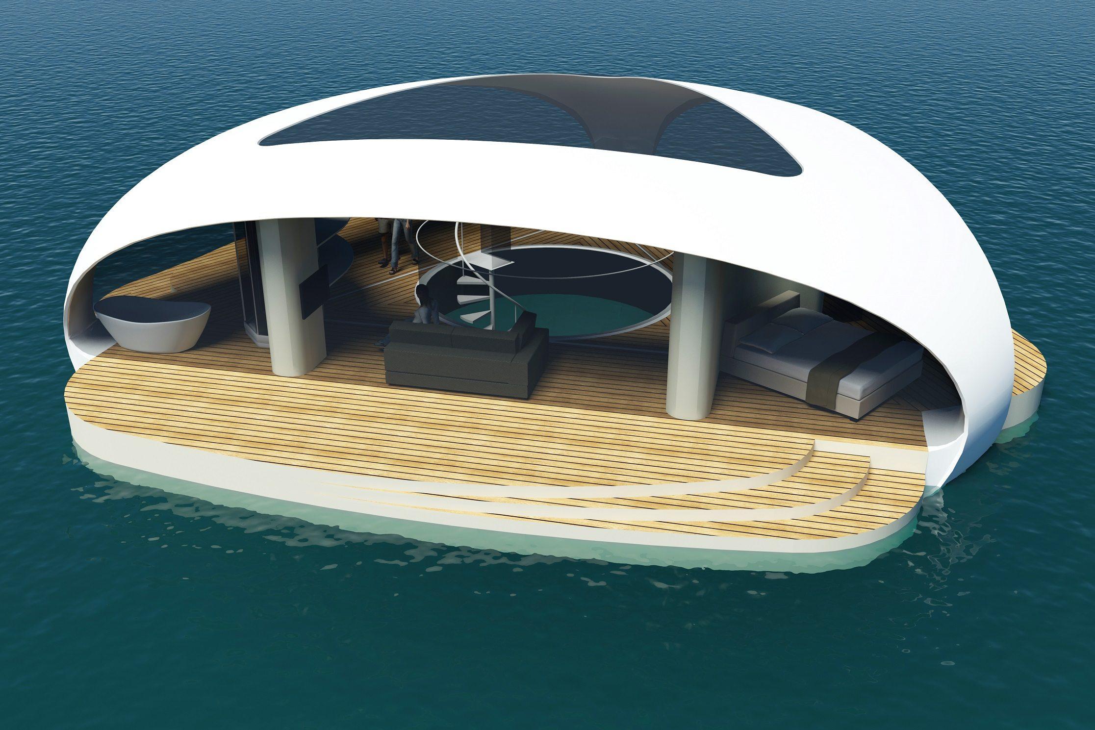 SeaScape se trata de una villa triangular con un pontón de aluminio y techo de fibra de vidrio. Foto: BMT Asia Pacific.