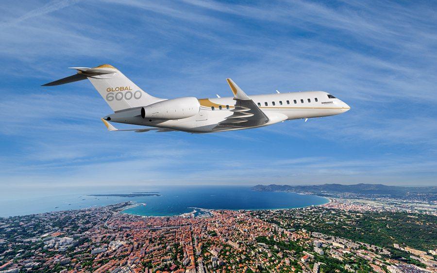 Bombardier Global 6000, ideal para 13 pasajeros. Su alcance de vuelo es de 6,000 millas náuticas, equivalente a un vuelo directo de Los Ángeles, California a Moscú, Rusia. Mismo alcance que el Jet Privado de Bill Gates.