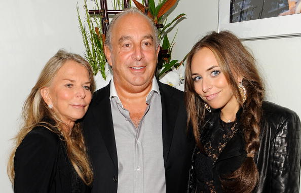 LONDON, ENGLAND - SEPTEMBER 29: (L to R) Cristina Green, Sir Philip Green, and Chloe Green attend the launch party for 'Promise', a new capsule ring collection created by Cheryl Cole and de Grisogono, at Nobu London on September 29, 2010 in London, England. (Photo by Ian Gavan/Getty Images for de Grisogono)
