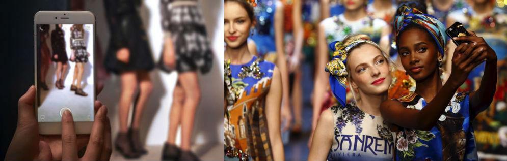 Live streams via Snapchat. (Foto: luxemme.com) / Selfies fashion show (luxurycomm.com)