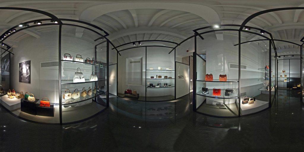 Sala Hand Bags dentro del Museo Gucci