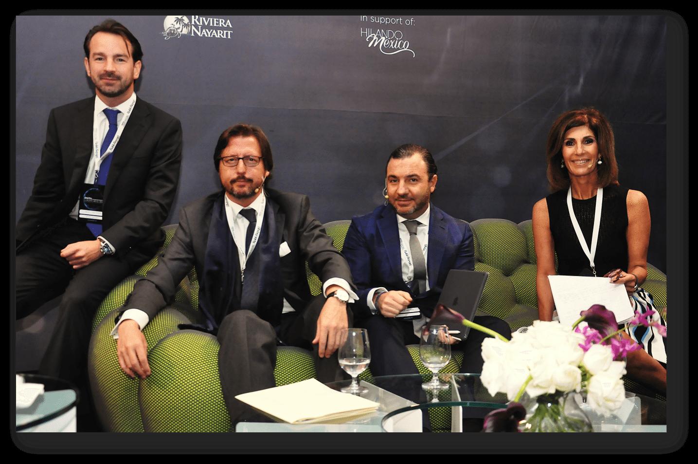 Neal Tritton, de Robb Report; Luis Prados, de Zenith Optimedia; Jack Helfon, de UNIQ Luxury, y Martha Barcárcel, de Dolce & Gabbana y Tukuul Concept. (Foto: luxurylab.mx)