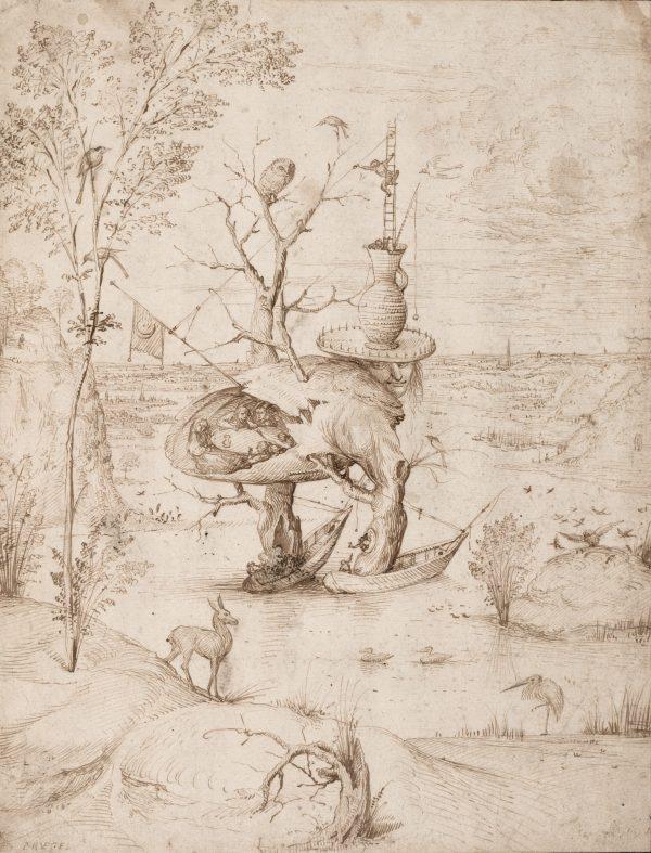 El hombre-árbol. El Bosco. Tinta parda a pluma, 227 x 211 mm h. 1500-10 Viena, Albertina