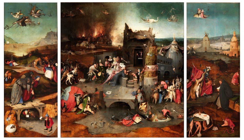 Tríptico de las tentaciones de san Antonio Abad El Bosco Óleo sobre tabla, 131,5 x 111,9 cm (tabla central); 131,5 x 53 cm (tablas izquierda y derecha) h. 1500-5 Lisboa, Museu Nacional de Arte Antiga