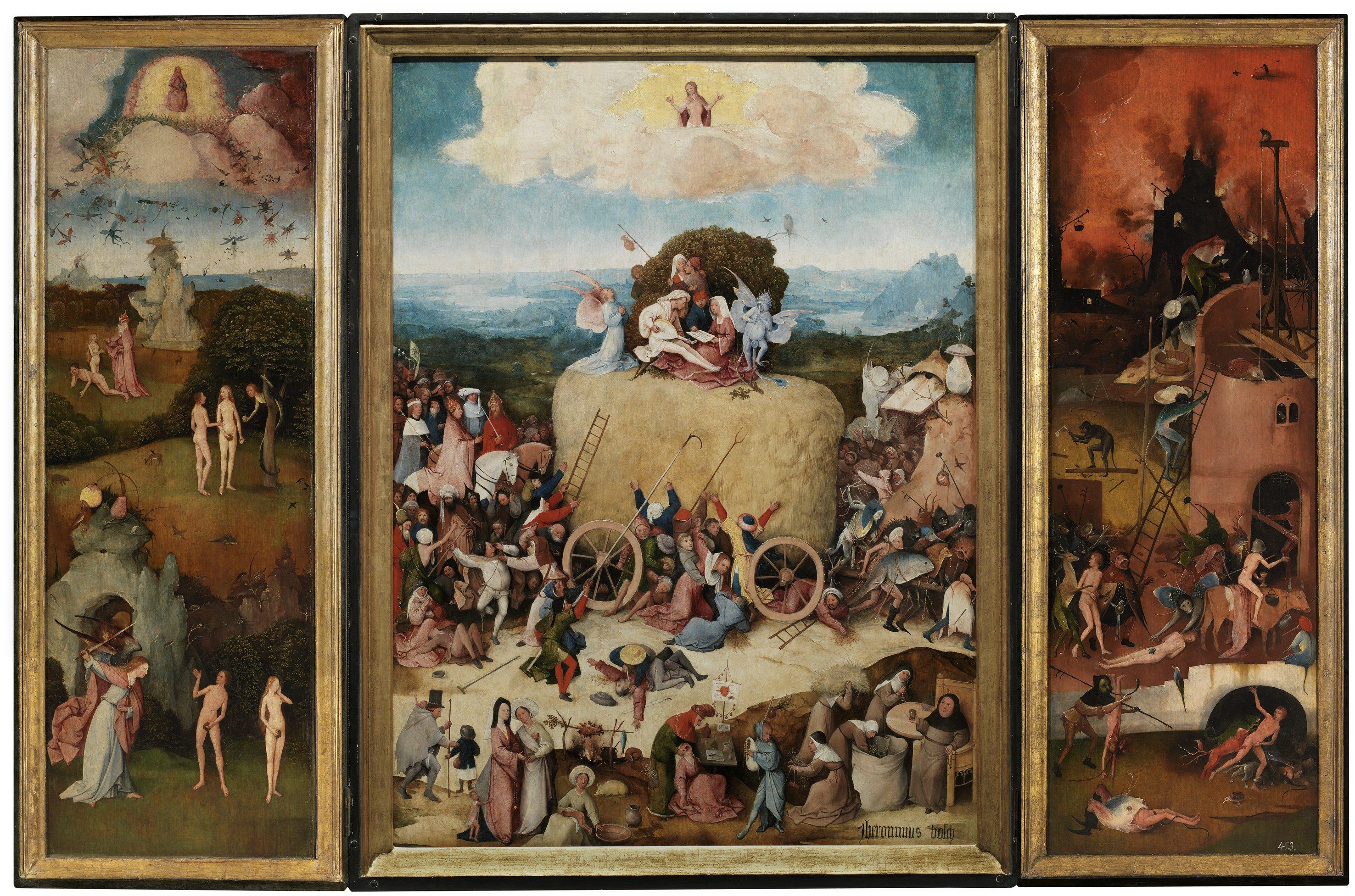 Tríptico del carro de heno. El Bosco. Óleo sobre tabla, 133 x 100 cm (tabla central); 136,1 x 47,7 (tabla izquierda); 136,1 x 47,6 cm (tabla derecha) h. 1512-15 Madrid, Museo Nacional del Prado