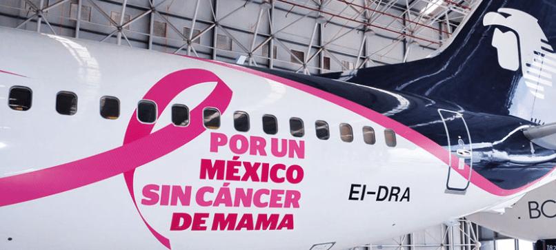Aeromexico crea conciencia sobre el cáncer de mama.