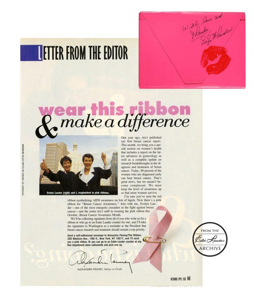 Lanzamiento del listón rosa por Evelyn Lauder.
