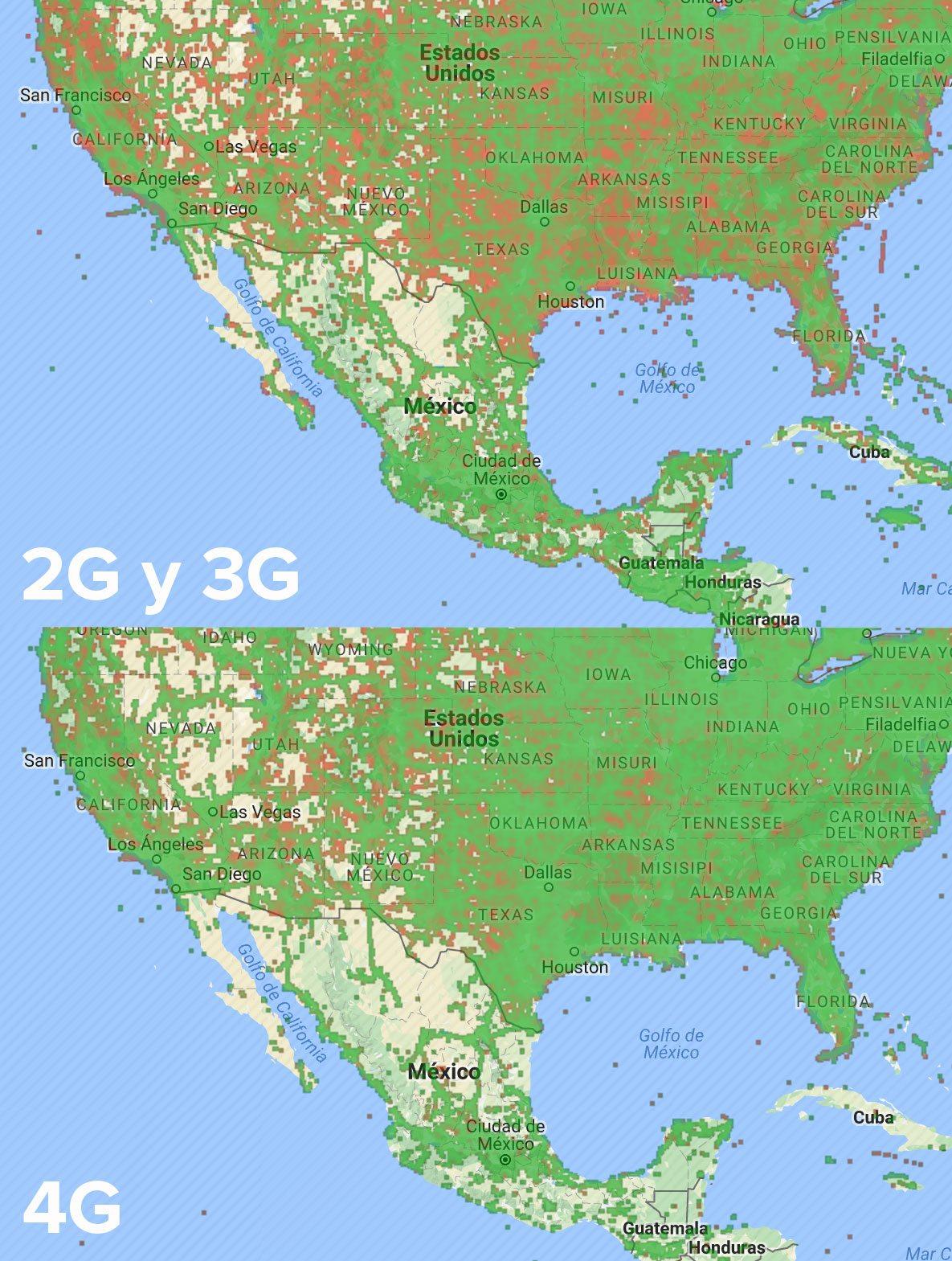 Comparativo de cobertura 2G y 3G frente a 4G, de acuerdo con datos de Open Signal.