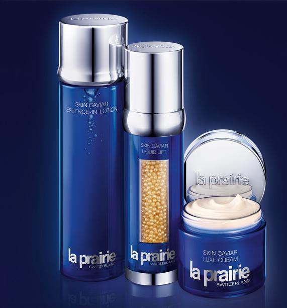Productos esenciales de la línea de caviar de La Prairie.