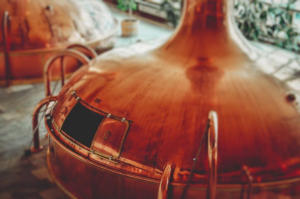 Caldera tradicional de cobre en la que se lleva a cabo la ebullición. Todavía son utilizadas en algunas fábricas de cerveza.