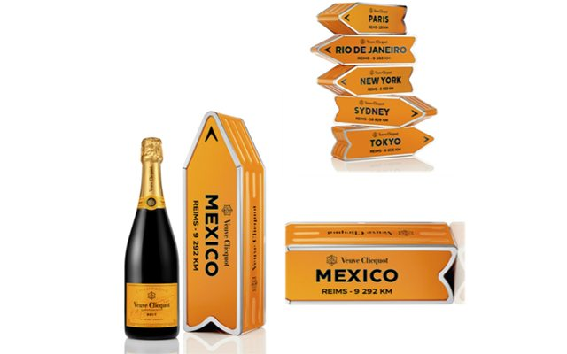 Los empaques de las botellas de Veuve Clicquot Ponsardin que te invitan a viajar.