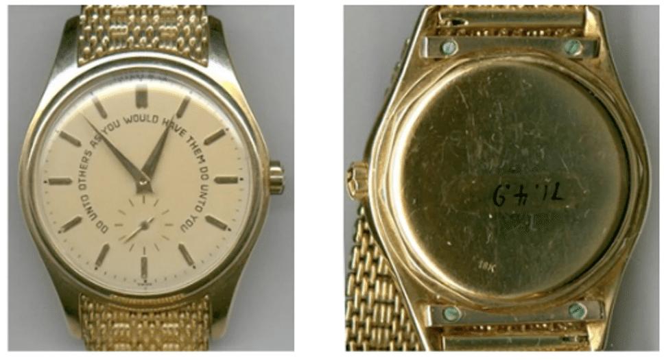 75d5e72176e7 Johnson es el único presidente que se conoce poseía un Patek Philippe. Este  reloj estaba hecho de oro amarillo de 18k y tenía una pulsera especial de  oro ...